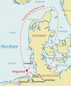 Nordseewoche mit Pantaenius Rund Skagen Wettfahrt Übersichtskarte der Zubringerregatten und Langstrackenregatta